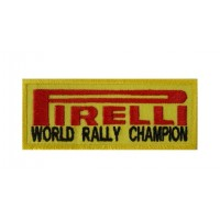 0896 Patch écusson brodé 10x4 PIRELLI WORLD RALLY CHAMPION