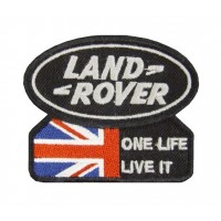 0926 Patch emblema bordado 9x7 LAND ROVER ONE LIFE LIVE IT UNION JACK