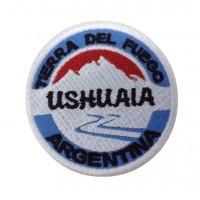 0932 Patch emblema bordado 7x7 USHUAIA TIERRA DEL FUEGO ARGENTINA