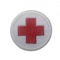 0533 Embroidered patch sew on 4x4 Red Cross flag Vespa