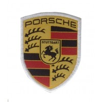 0956 Embroidered patch 7x6 PORSCHE white