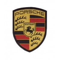 0957 Embroidered patch 7x6 PORSCHE black