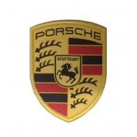 1057 Embroidered patch 7x6 PORSCHE gold