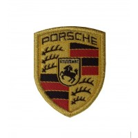 1058 Embroidered patch 4X3 PORSCHE gold