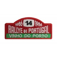 1141 Embroidered patch 10x4 RALLY PORTUGAL VINHO DO PORTO 1986 Nº 14 MOUTINHO