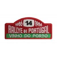 1141 Patch emblema bordado 10x4 RALLYE PORTUGAL VINHO DO PORTO 1986 Nº 14 MOUTINHO