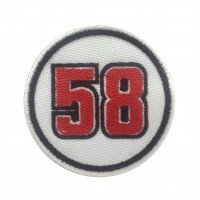 0690 Embroidered patch 7x7 MARCO SIMONCELLI 58 SUPERSIC