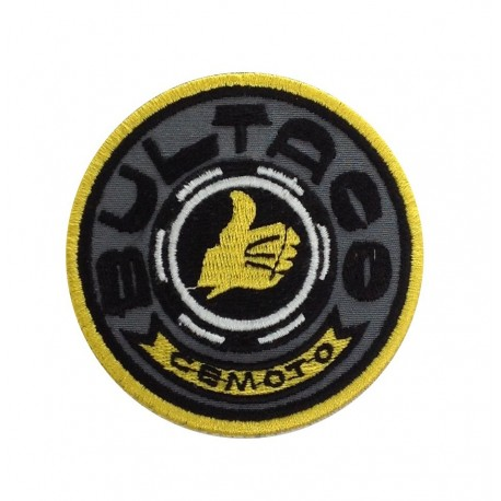 1225 Embroidered patch 7x7 BULTACO CEMOTO MADE IN SPAIN grey