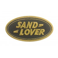 0150 Patch écusson brodé 9x5 LAND ROVER « SAND LOVER »