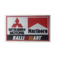 1245 Patch emblema bordado 10x6 MITSUBISHI MARLBORO TEAM RALLIART