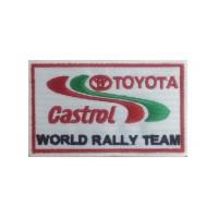 1256 Patch emblema bordado 10x6 TOYOTA CASTROL WORLD RALLY TEAM