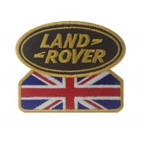 0582 Patch emblema bordado 9x7 LAND ROVER UNION JACK dourado