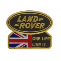 1300 Patch emblema bordado 9x7 LAND ROVER ONE LIFE LIVE IT dourado