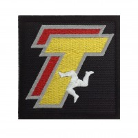 1456 Patch emblema bordado 7x7 TT ISLE OF MAN THE WORLD'S GREATEST ROAD RACES