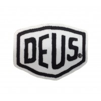 1590 Embroidered patch sew on 8x6 DEUS EX MACHINA white