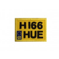 1958 Embroidered patch 6X4 H166 HUE LAND ROVER DEFENDER LAST LICENSE PLATE