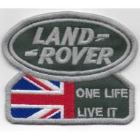 0926 Patch emblema bordado 9x7 LAND ROVER ONE LIFE LIVE IT UNION JACK