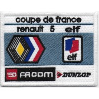 2109 Embroidered patch sew on 10x8 RENAULT 5 COUPE DE FRANCE ELF