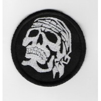 2421 Embroidered sew on patch 6X6 PIRATE SKULL