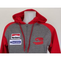 2769 AYRTON SENNA DRIVEN TO PERFECTION Unisex two-tone zipped hooded fleece jacket  Proact