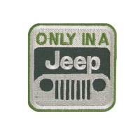 Patch emblema bordado 6X6  ONLY IN A JEEP
